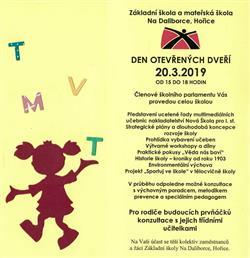 Den otevřených dveřáí na ZŠ a MŠ Na Daliborce